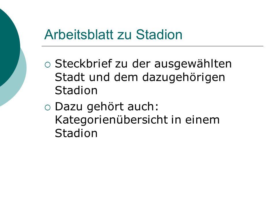 Arbeitsblatt zu Stadion