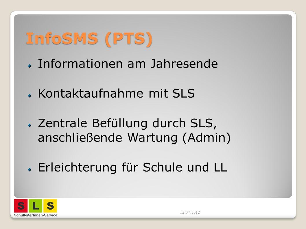 InfoSMS (PTS) Informationen am Jahresende Kontaktaufnahme mit SLS