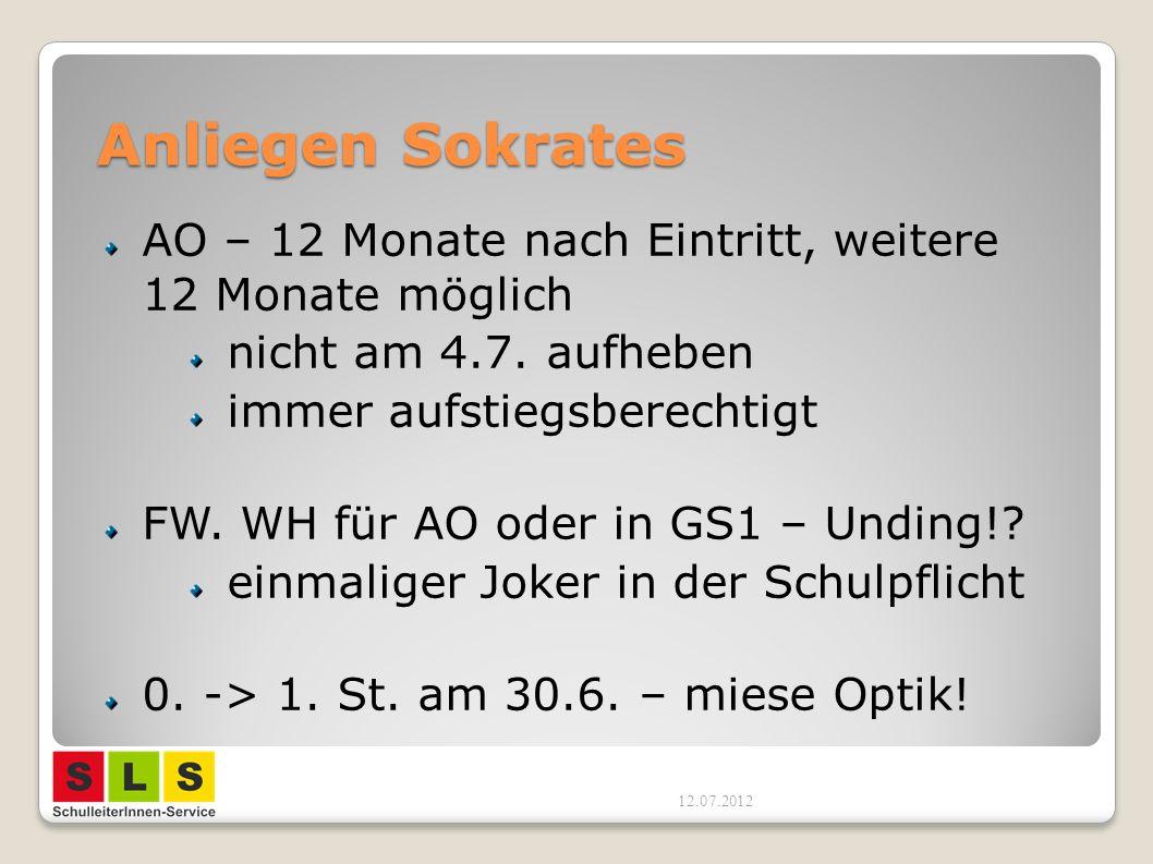 Anliegen Sokrates AO – 12 Monate nach Eintritt, weitere 12 Monate möglich. nicht am 4.7. aufheben.