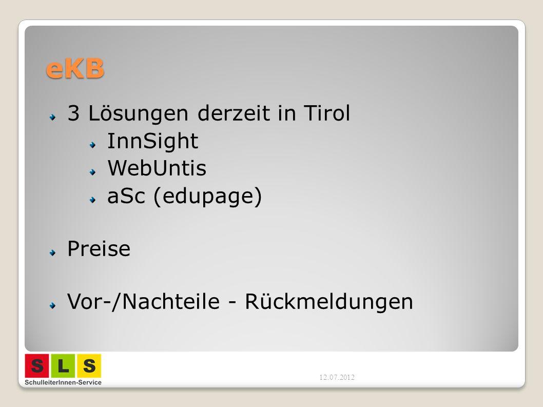 eKB 3 Lösungen derzeit in Tirol InnSight WebUntis aSc (edupage) Preise