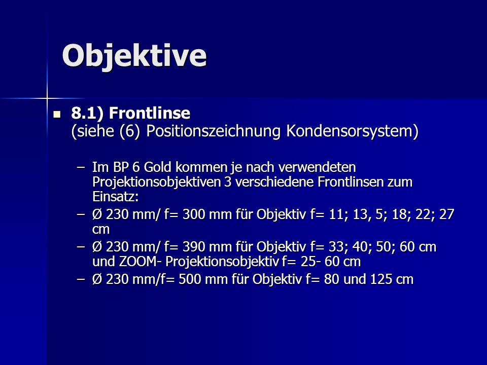 Objektive 8.1) Frontlinse (siehe (6) Positionszeichnung Kondensorsystem)