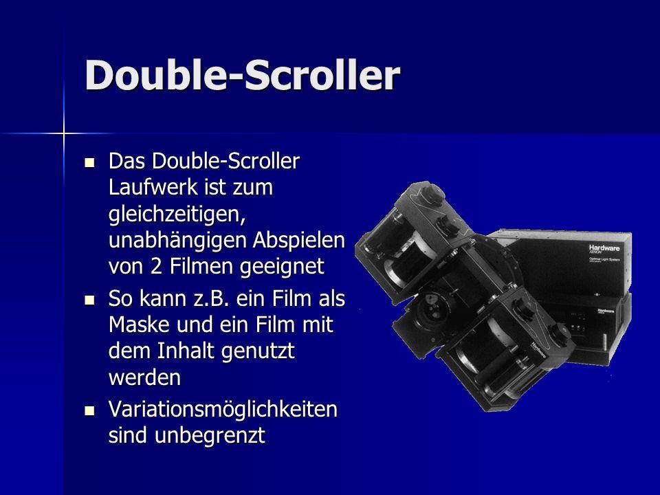 Double-Scroller Das Double-Scroller Laufwerk ist zum gleichzeitigen, unabhängigen Abspielen von 2 Filmen geeignet.