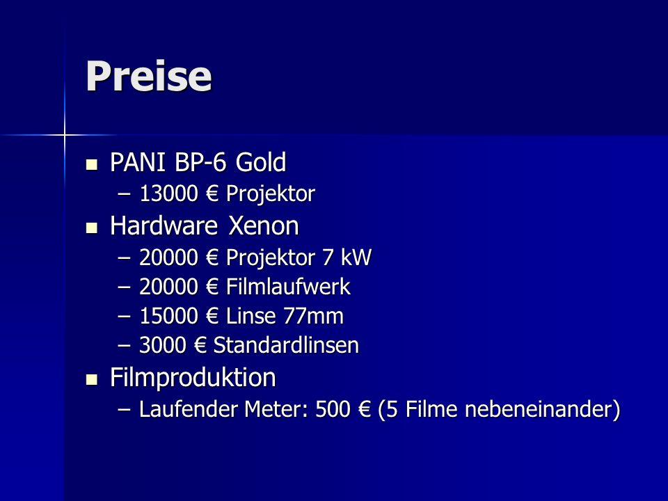Preise PANI BP-6 Gold Hardware Xenon Filmproduktion 13000 € Projektor