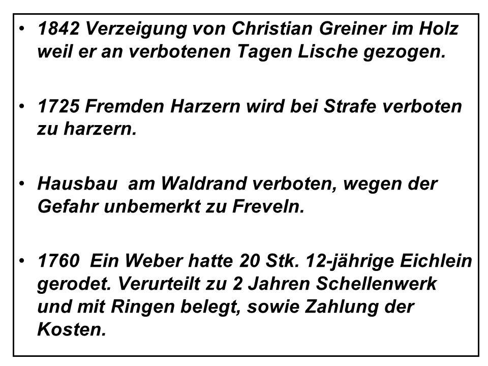 1842 Verzeigung von Christian Greiner im Holz weil er an verbotenen Tagen Lische gezogen.
