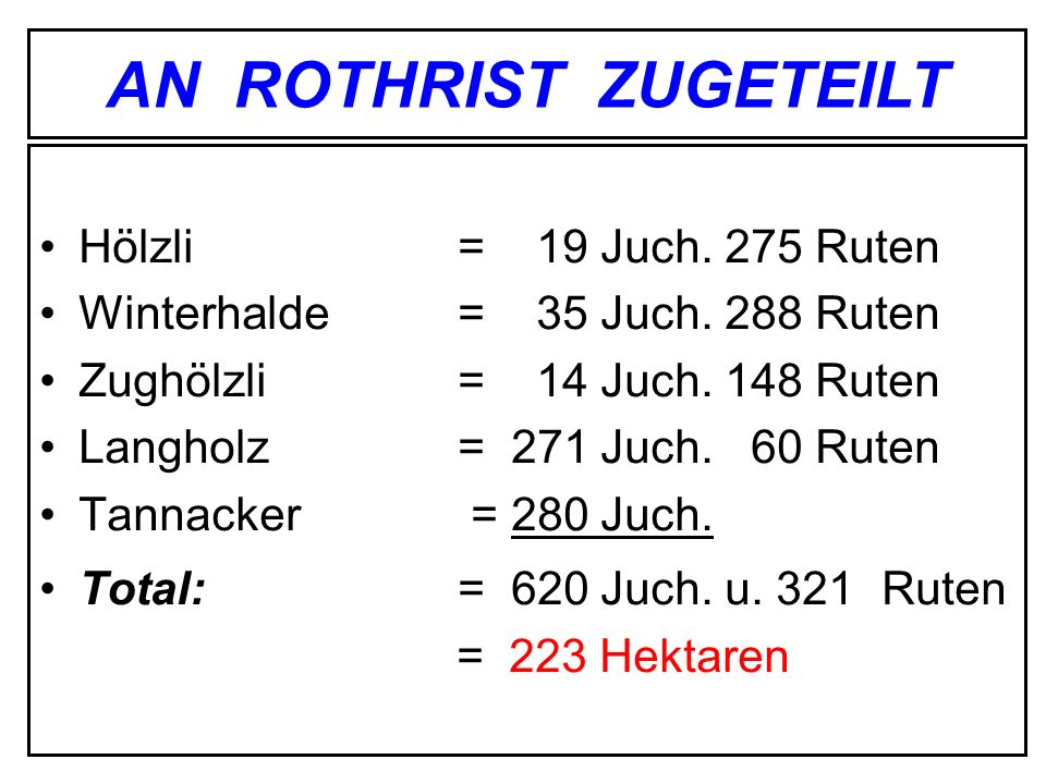 AN ROTHRIST ZUGETEILT Hölzli = 19 Juch. 275 Ruten