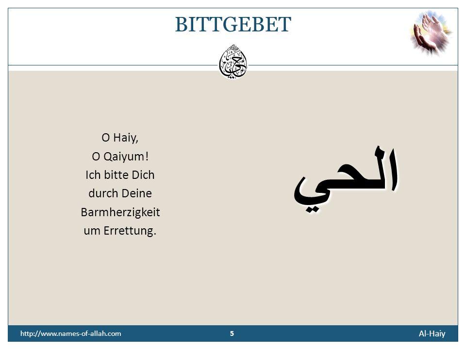 BITTGEBET O Haiy, O Qaiyum! Ich bitte Dich durch Deine Barmherzigkeit um Errettung. الحي. http://www.names-of-allah.com.