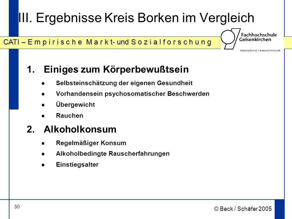 III. Ergebnisse Kreis Borken im Vergleich