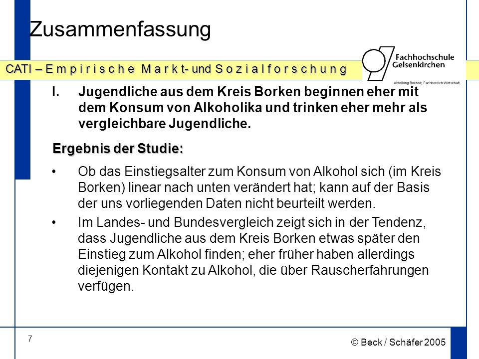Zusammenfassung Jugendliche aus dem Kreis Borken beginnen eher mit dem Konsum von Alkoholika und trinken eher mehr als vergleichbare Jugendliche.