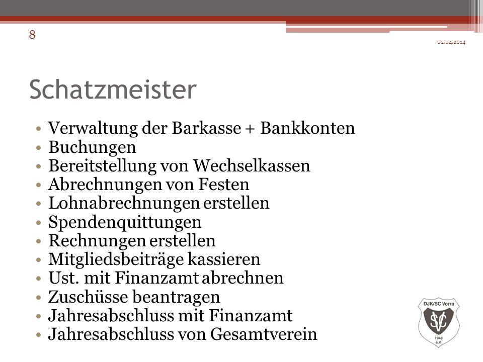 Schatzmeister Verwaltung der Barkasse + Bankkonten Buchungen