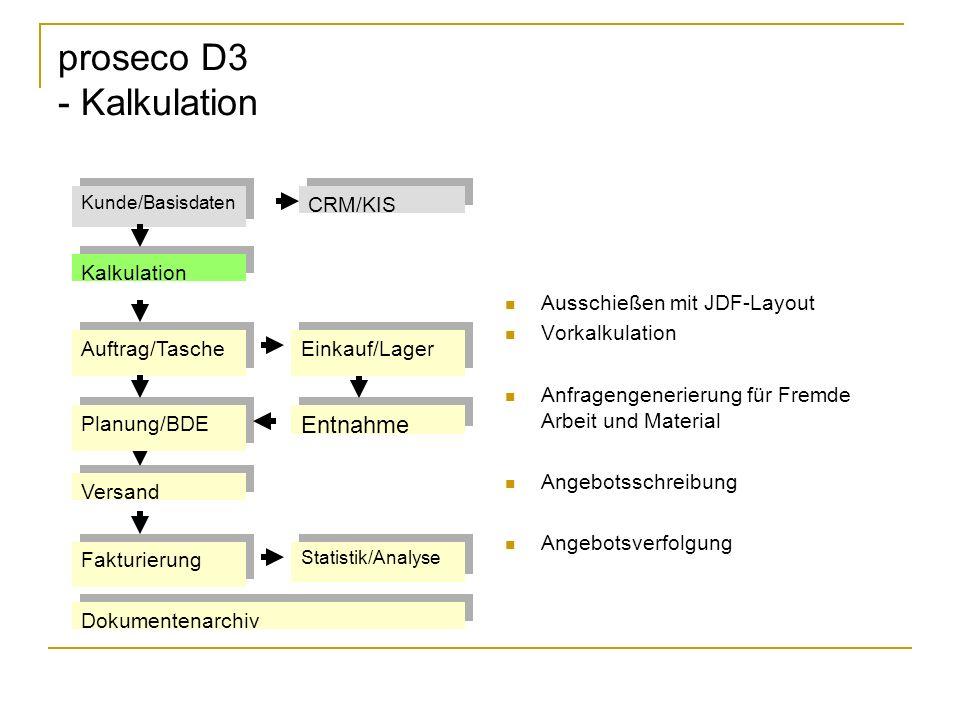 proseco D3 - Kalkulation