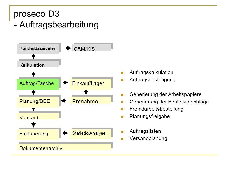 proseco D3 - Auftragsbearbeitung