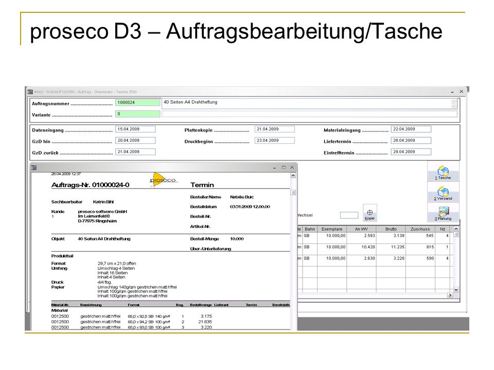 proseco D3 – Auftragsbearbeitung/Tasche