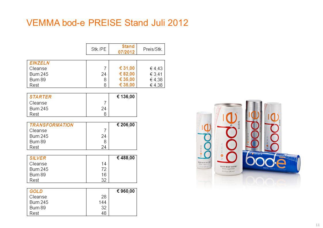 VEMMA bod-e PREISE Stand Juli 2012