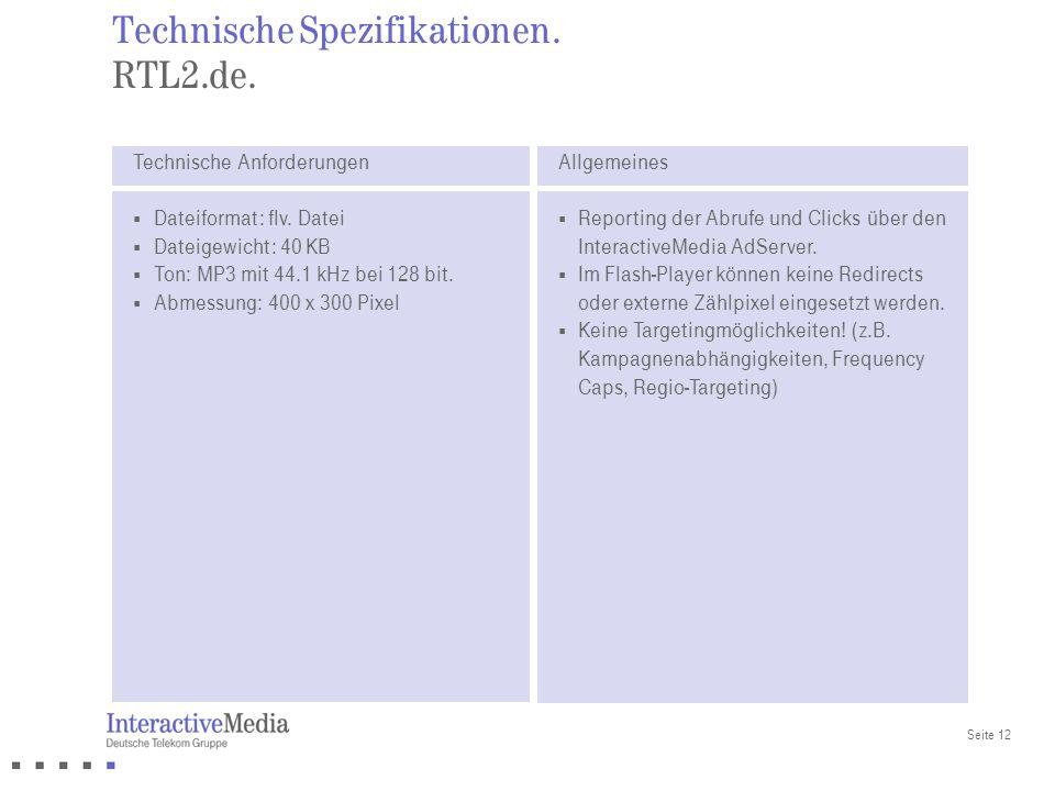 Technische Spezifikationen. RTL2.de.