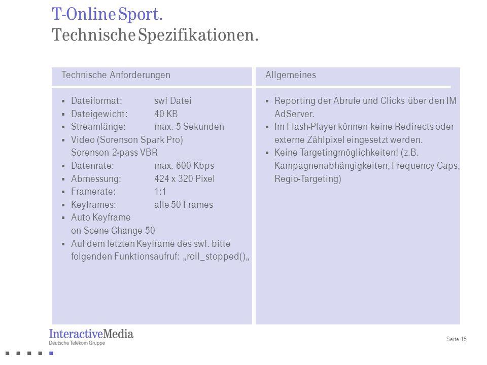 T-Online Sport. Technische Spezifikationen.