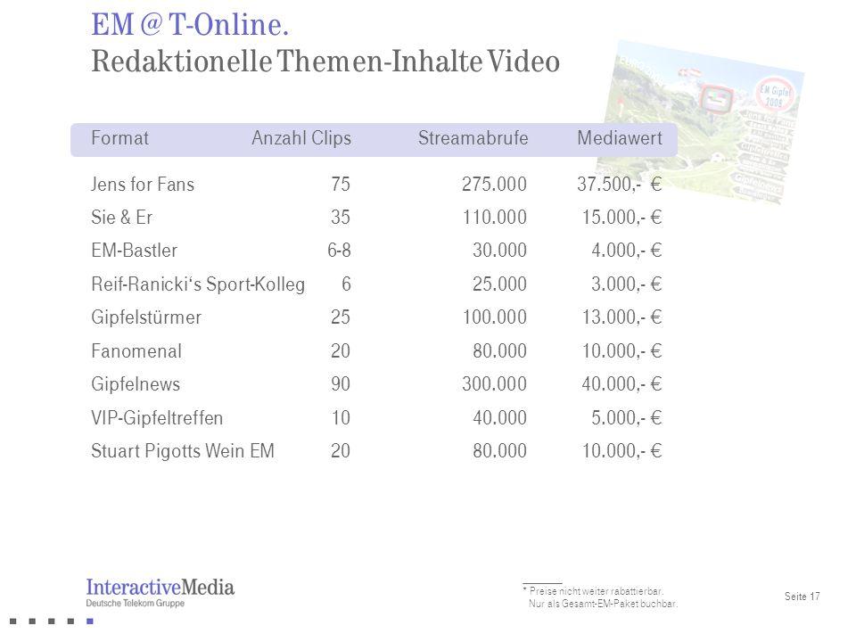 EM @ T-Online. Redaktionelle Themen-Inhalte Video