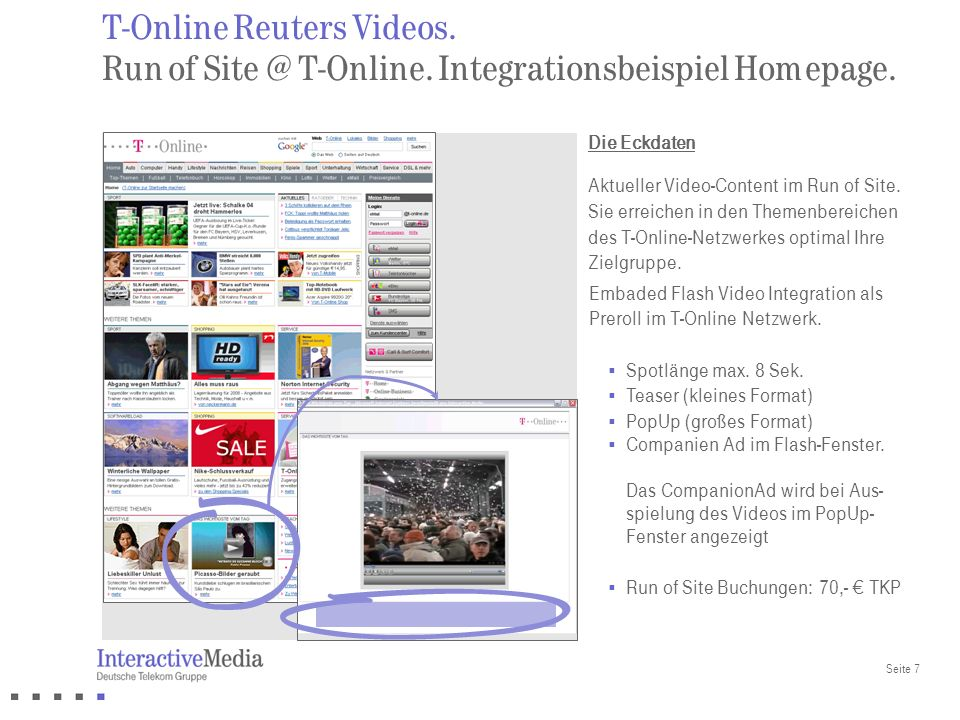 T-Online Reuters Videos. Run of Site @ T-Online