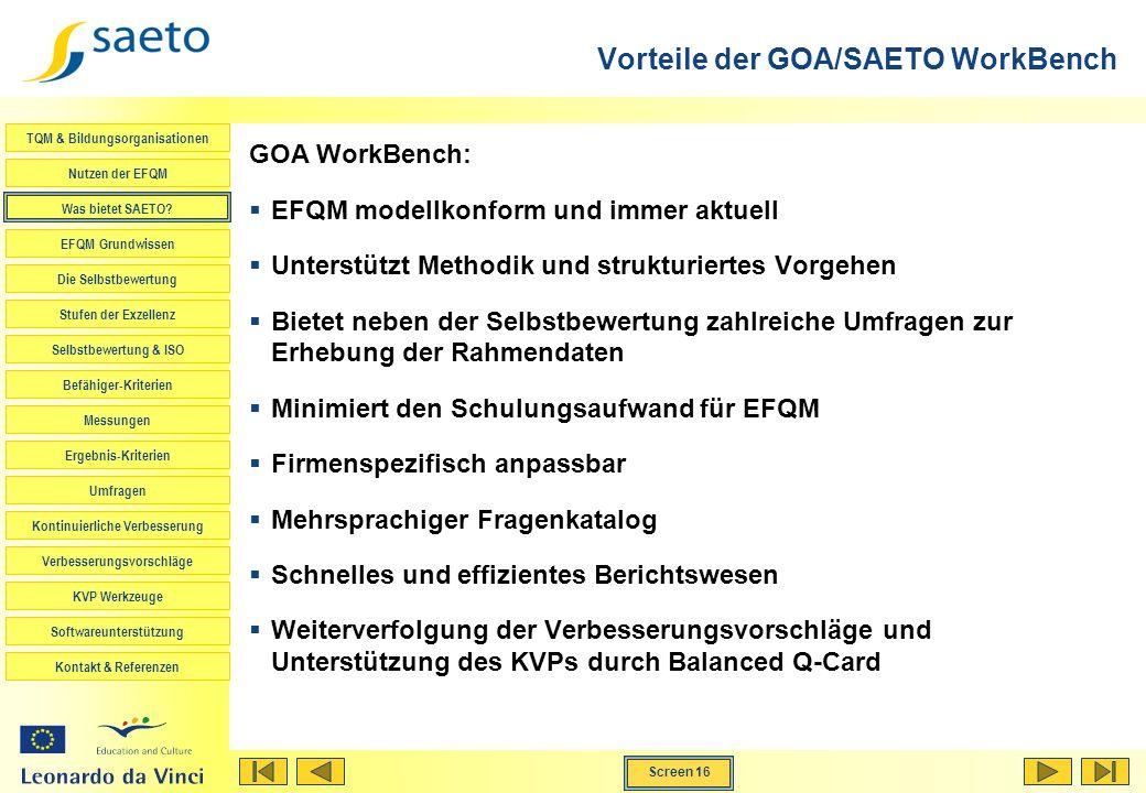 Vorteile der GOA/SAETO WorkBench