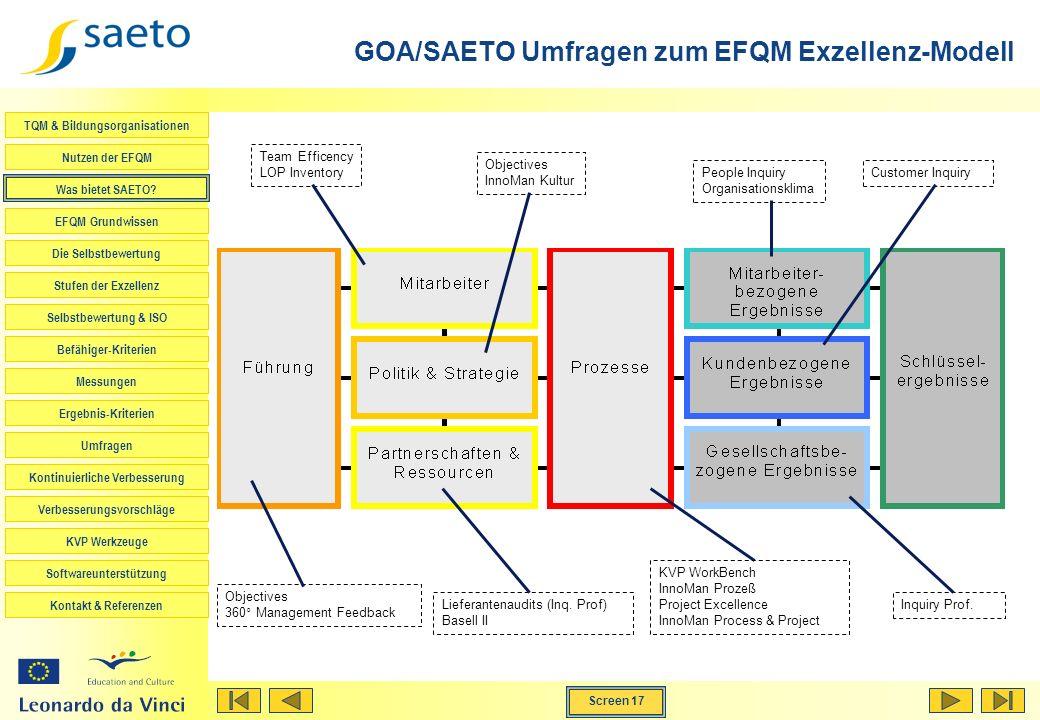 GOA/SAETO Umfragen zum EFQM Exzellenz-Modell