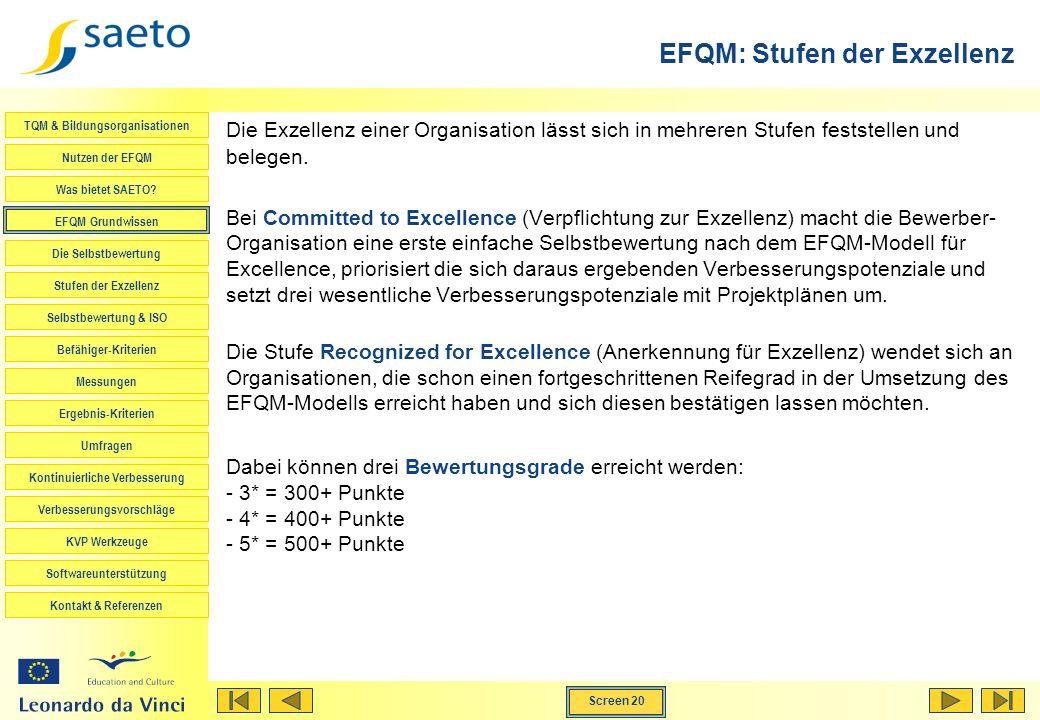 EFQM: Stufen der Exzellenz