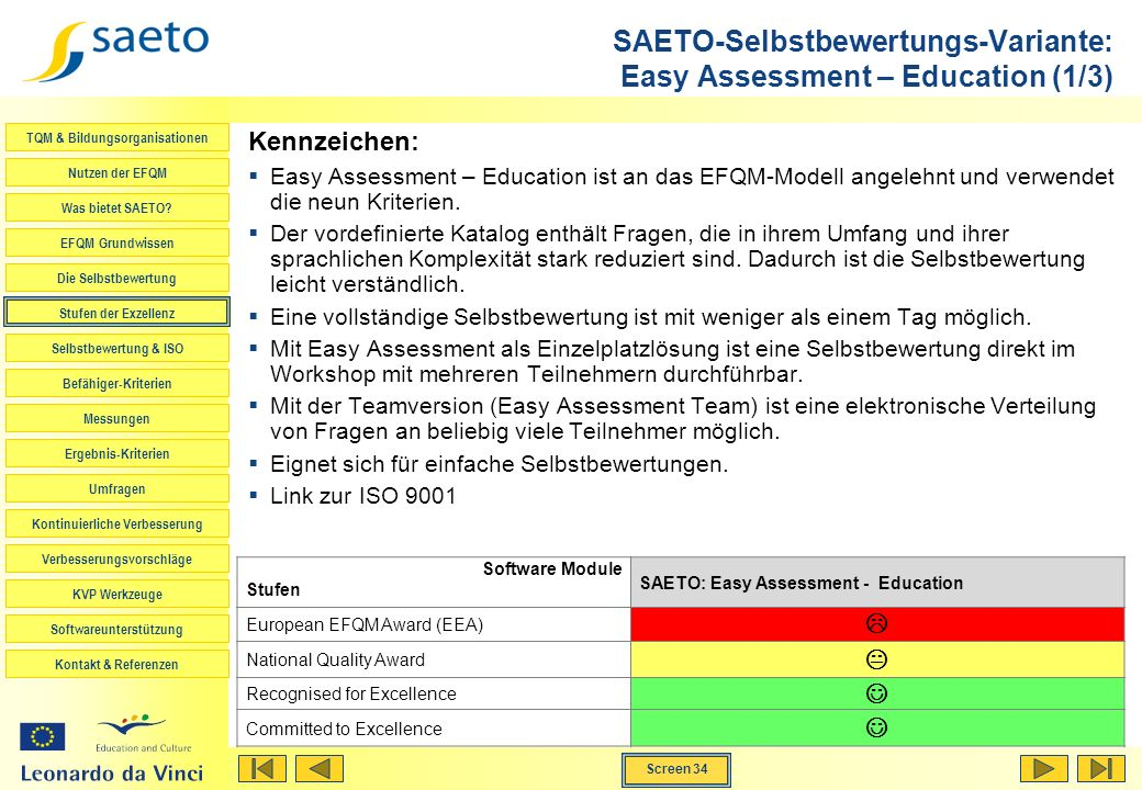 SAETO-Selbstbewertungs-Variante: Easy Assessment – Education (1/3)