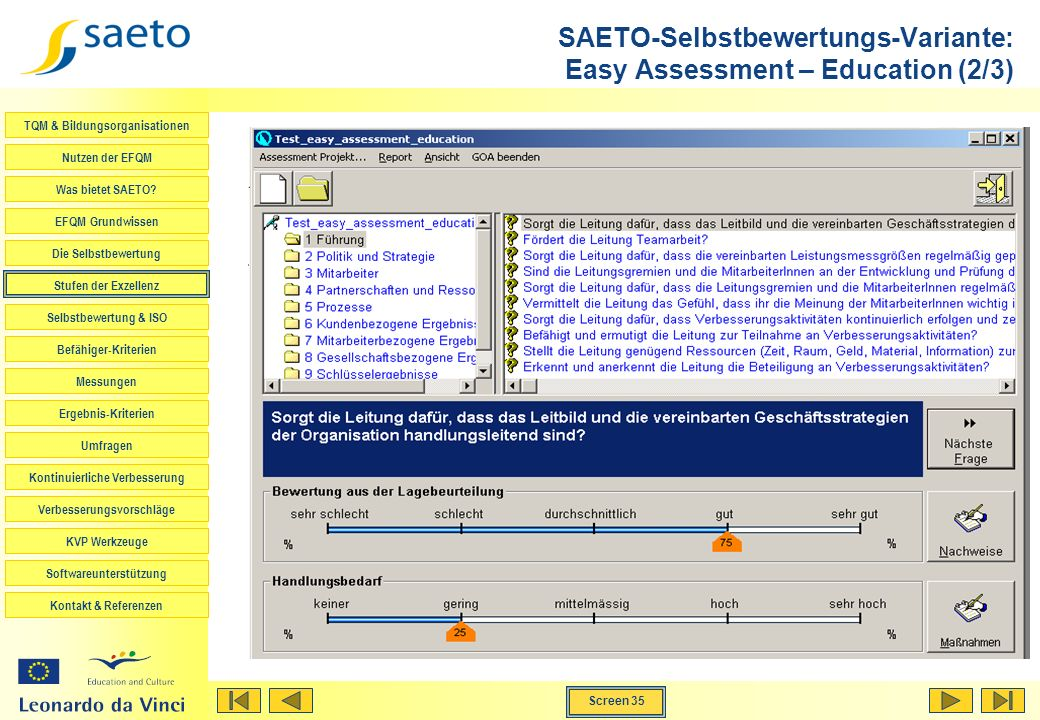 SAETO-Selbstbewertungs-Variante: Easy Assessment – Education (2/3)