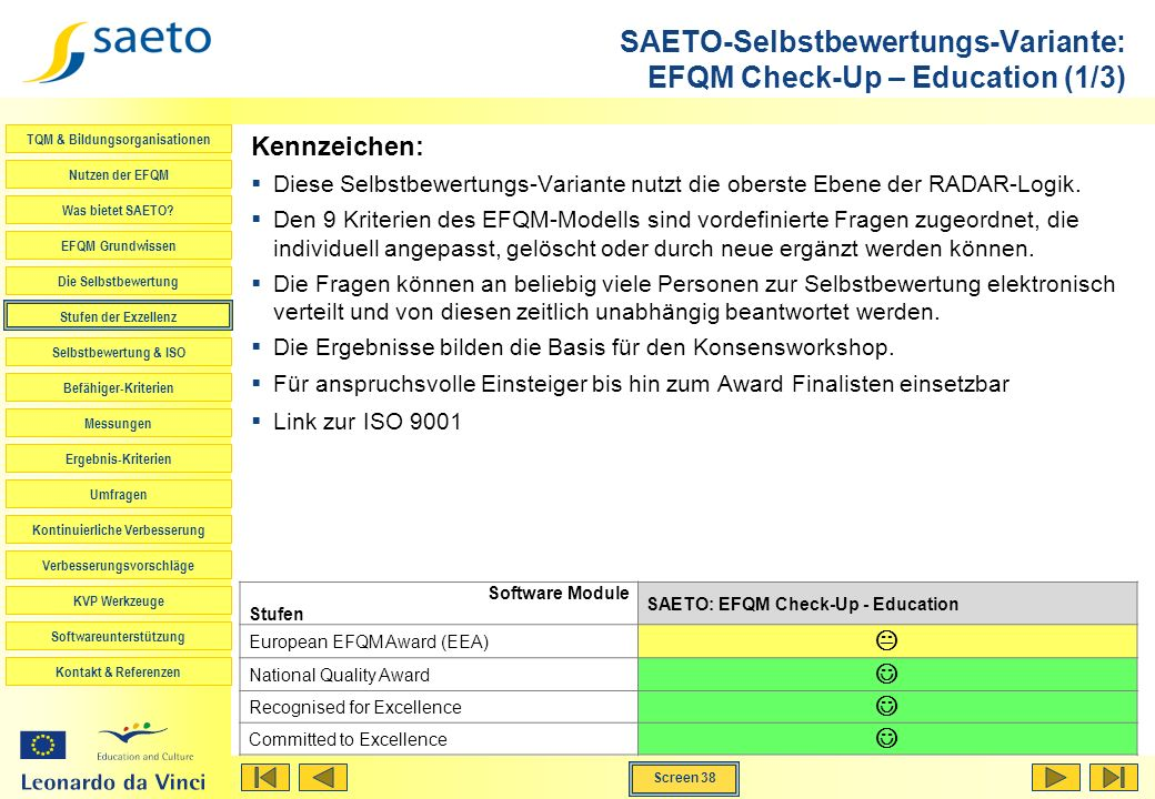 SAETO-Selbstbewertungs-Variante: EFQM Check-Up – Education (1/3)