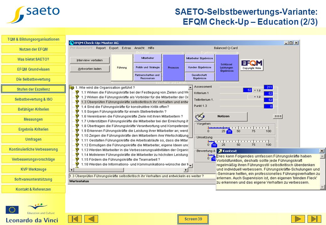 SAETO-Selbstbewertungs-Variante: EFQM Check-Up – Education (2/3)