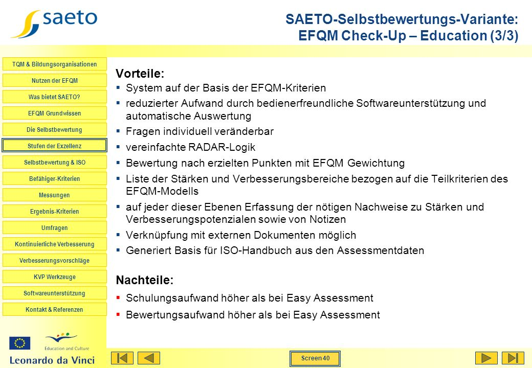 SAETO-Selbstbewertungs-Variante: EFQM Check-Up – Education (3/3)
