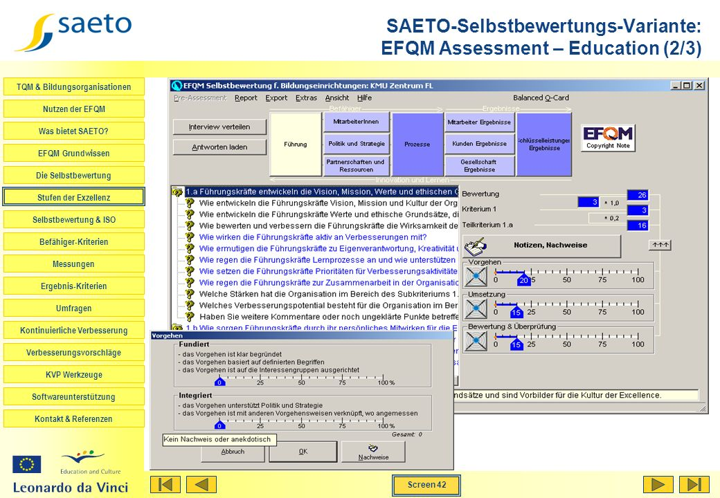SAETO-Selbstbewertungs-Variante: EFQM Assessment – Education (2/3)