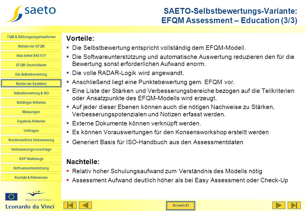 SAETO-Selbstbewertungs-Variante: EFQM Assessment – Education (3/3)