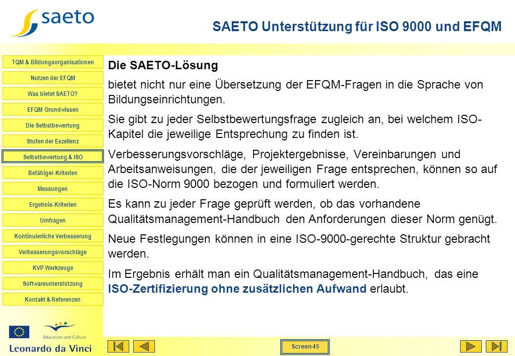 SAETO Unterstützung für ISO 9000 und EFQM