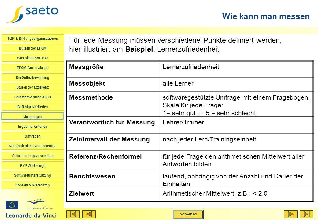 Wie kann man messen Für jede Messung müssen verschiedene Punkte definiert werden, hier illustriert am Beispiel: Lernerzufriedenheit.