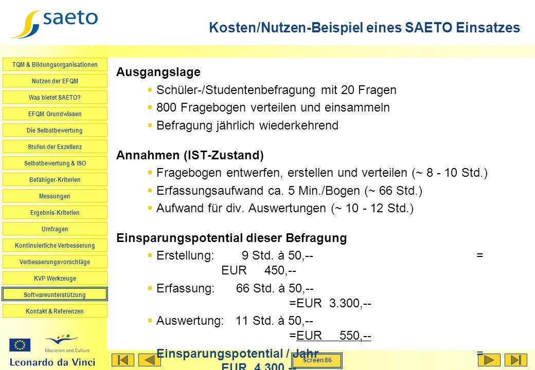 Kosten/Nutzen-Beispiel eines SAETO Einsatzes