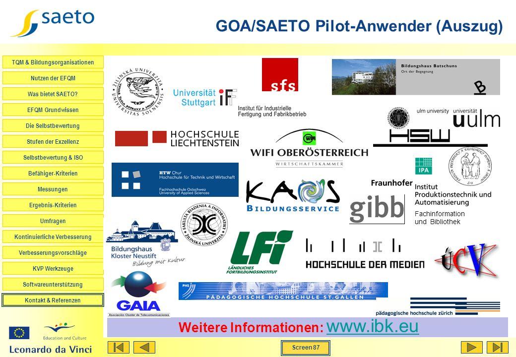 GOA/SAETO Pilot-Anwender (Auszug)