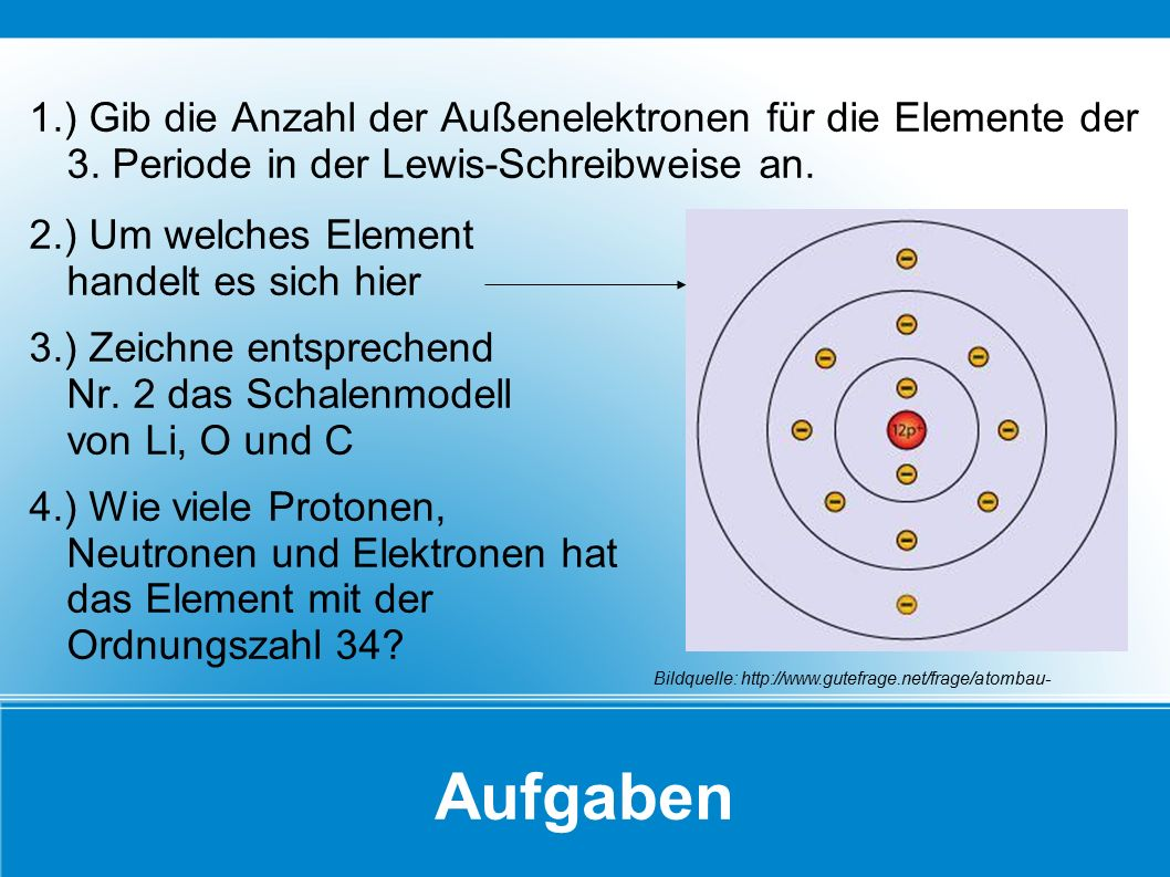 1. ) Gib die Anzahl der Außenelektronen für die Elemente der 3