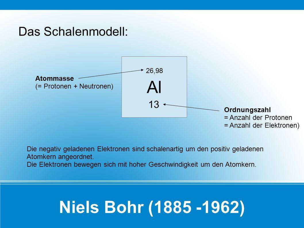 Al Niels Bohr (1885 -1962) Das Schalenmodell: 13 26,98 Atommasse