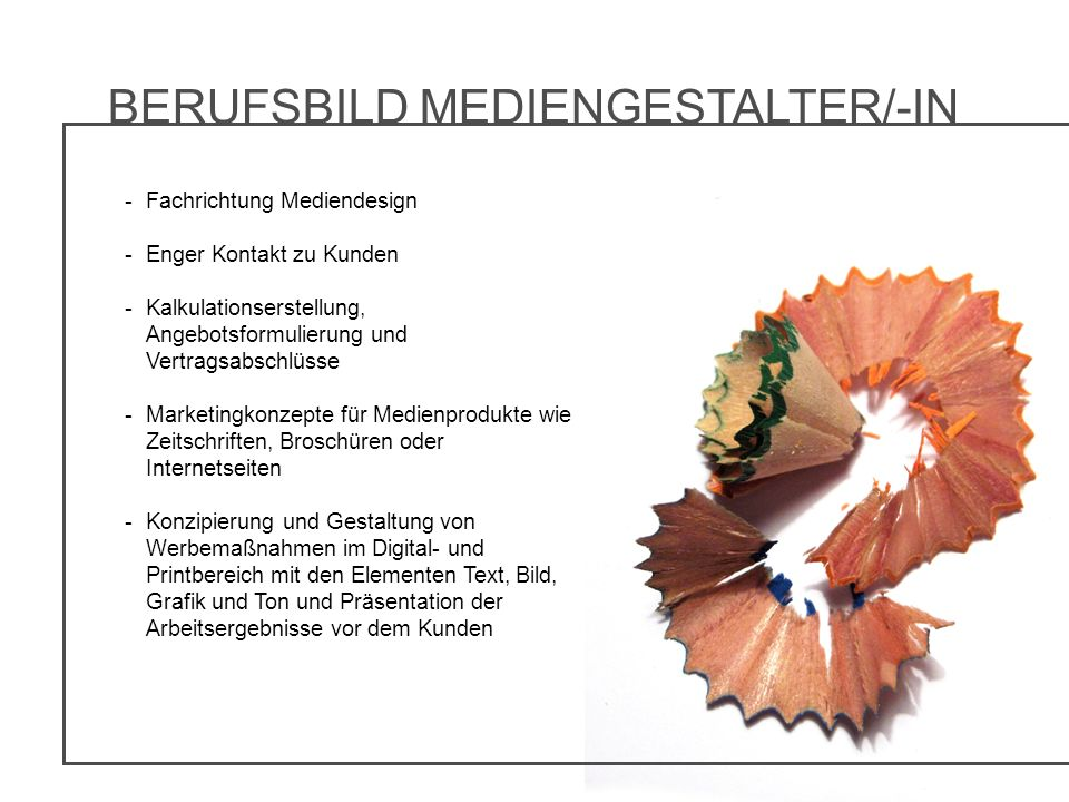 BERUFSBILD MEDIENGESTALTER/-IN