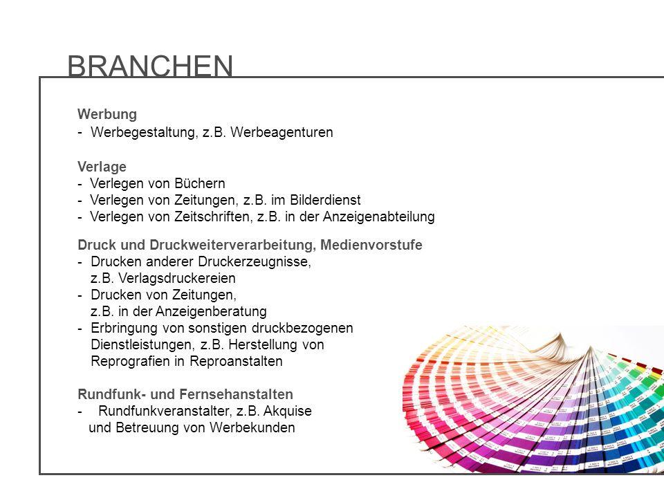 BRANCHEN - Werbegestaltung, z.B. Werbeagenturen Werbung Verlage