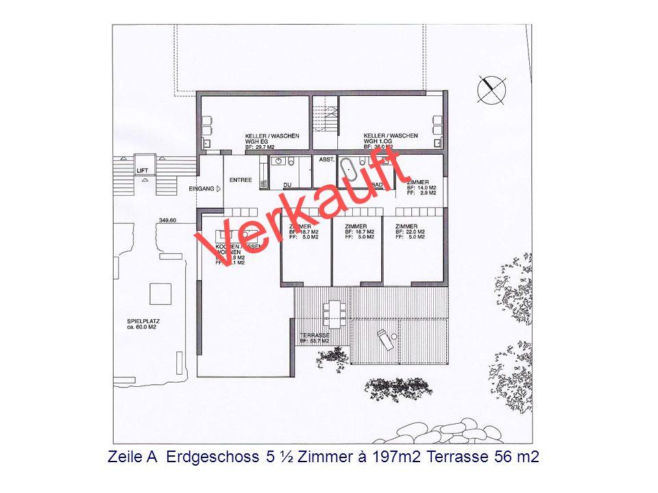 Verkauft Zeile A Erdgeschoss 5 ½ Zimmer à 197m2 Terrasse 56 m2