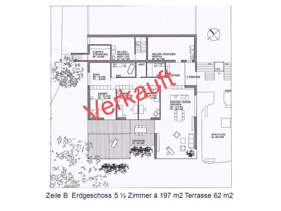 Verkauft Zeile B Erdgeschoss 5 ½ Zimmer à 197 m2 Terrasse 62 m2