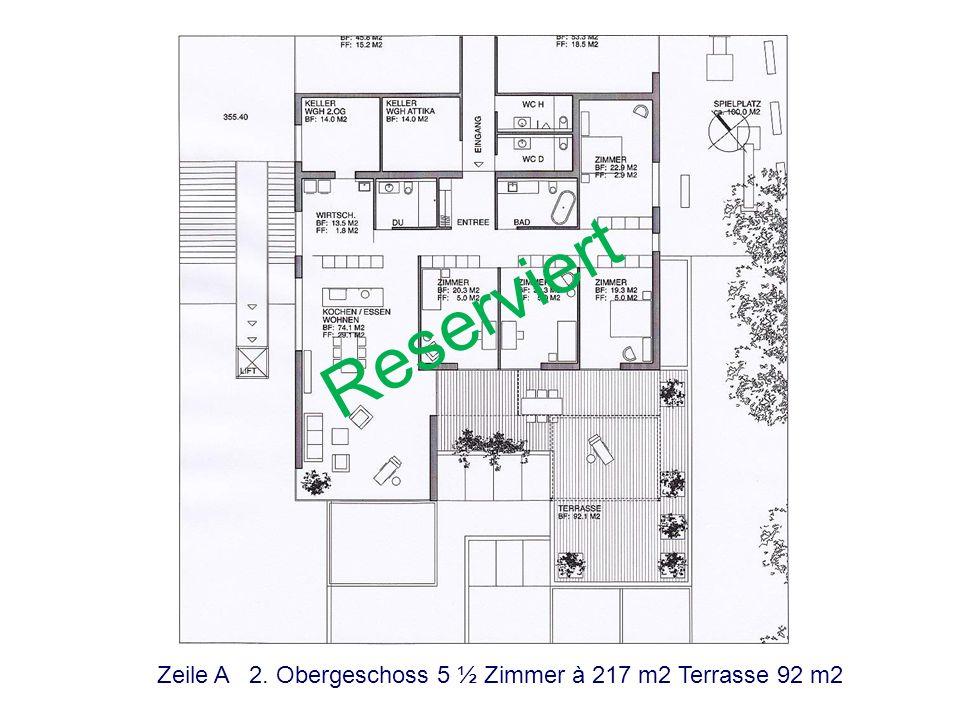 Reserviert Zeile A 2. Obergeschoss 5 ½ Zimmer à 217 m2 Terrasse 92 m2