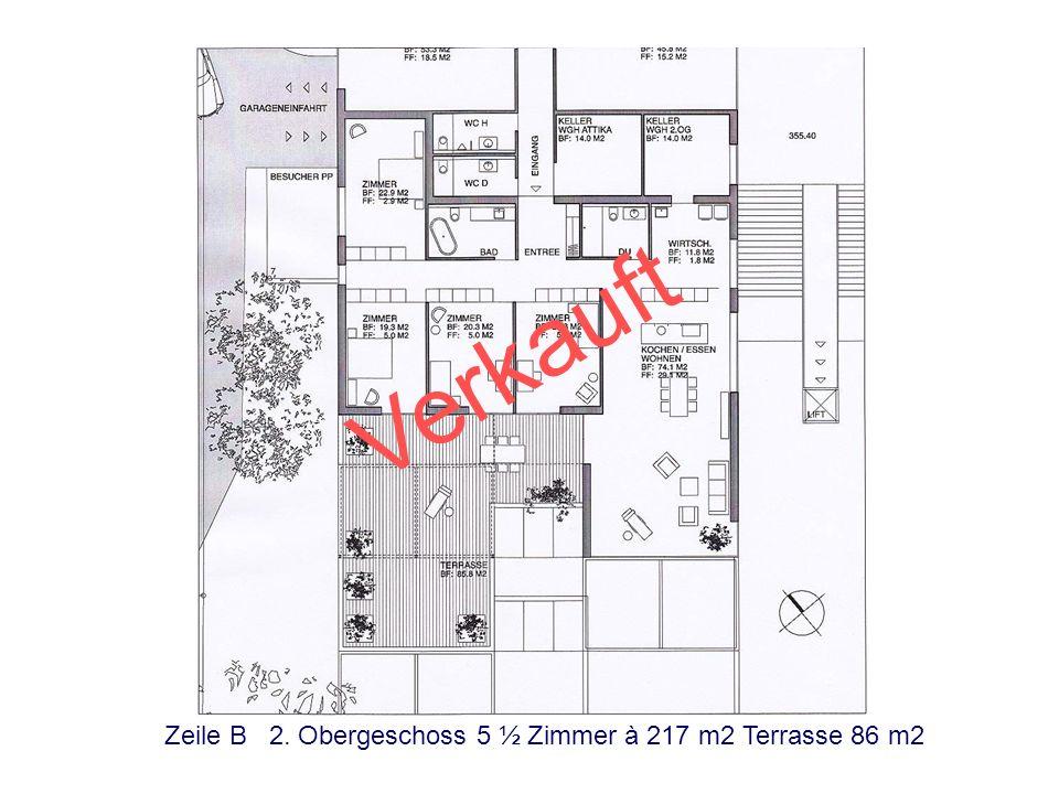 Verkauft Zeile B 2. Obergeschoss 5 ½ Zimmer à 217 m2 Terrasse 86 m2