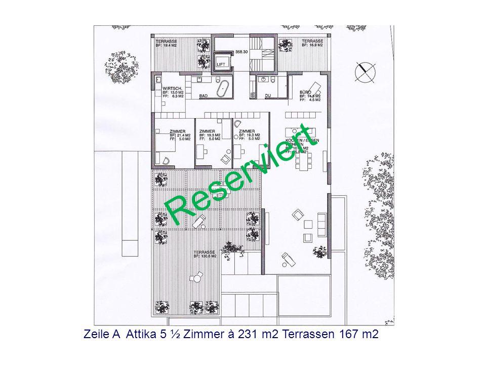 Reserviert Zeile A Attika 5 ½ Zimmer à 231 m2 Terrassen 167 m2