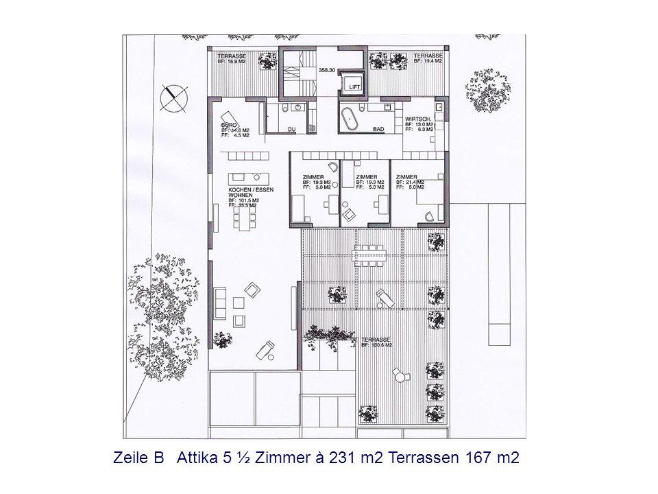 Zeile B Attika 5 ½ Zimmer à 231 m2 Terrassen 167 m2