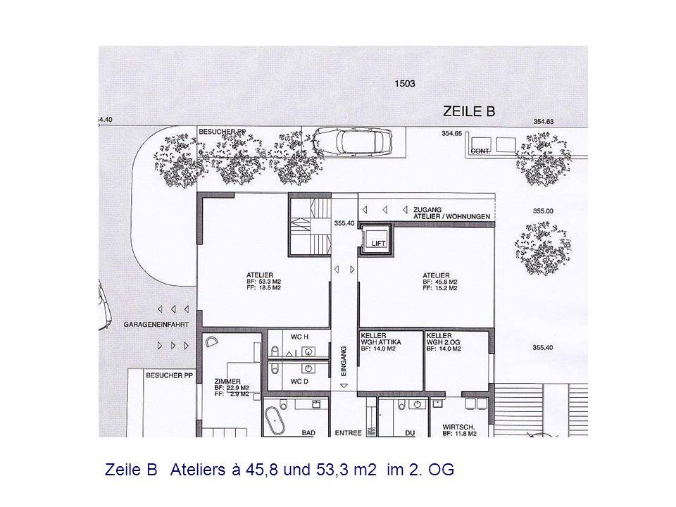 Zeile B Ateliers à 45,8 und 53,3 m2 im 2. OG