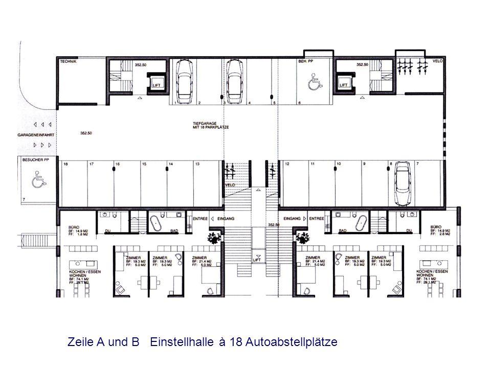 Zeile A und B Einstellhalle à 18 Autoabstellplätze
