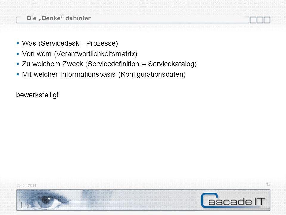 Was (Servicedesk - Prozesse) Von wem (Verantwortlichkeitsmatrix)