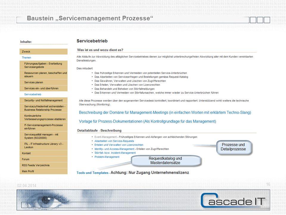 """Baustein """"Servicemanagement Prozesse"""