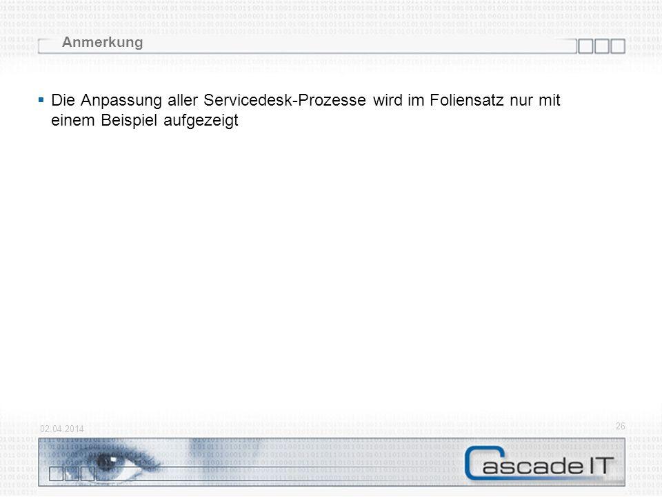 Anmerkung Die Anpassung aller Servicedesk-Prozesse wird im Foliensatz nur mit einem Beispiel aufgezeigt.
